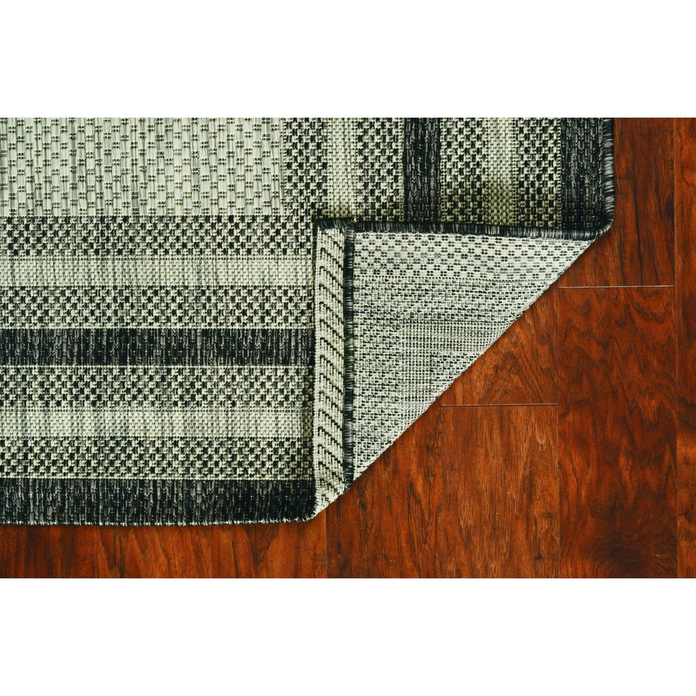 8'x11' Grey Machine Woven UV Treated Bordered Indoor Outdoor Area Rug - 375211. Picture 1