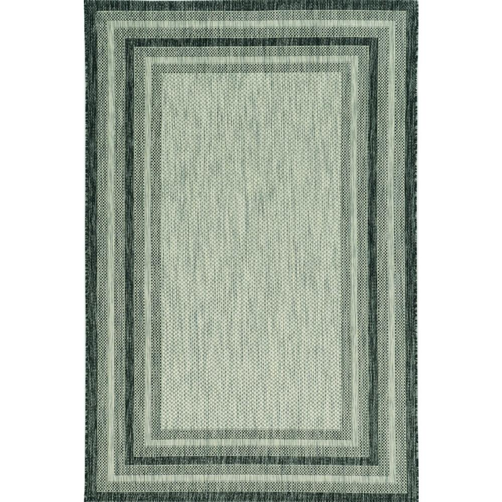 8'x11' Grey Machine Woven UV Treated Bordered Indoor Outdoor Area Rug - 375211. Picture 2