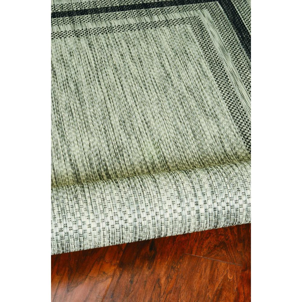 8'x11' Grey Machine Woven UV Treated Bordered Indoor Outdoor Area Rug - 375211. Picture 4
