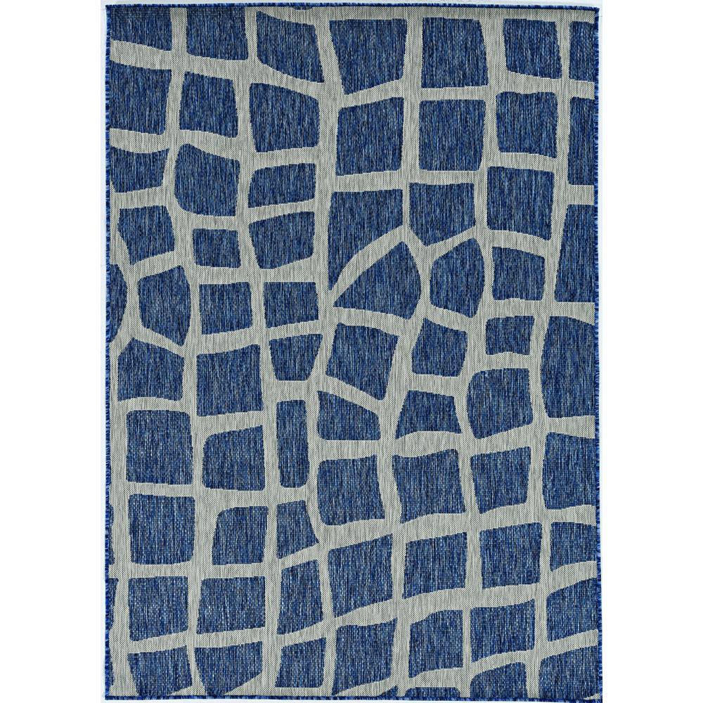 5' x 8' Blue or Grey Abstract Panels Area Rug - 375229. Picture 2