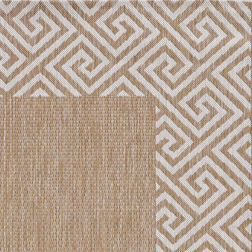 5'x7' Ivory Machine Woven UV Treated Greek Key Bordered Indoor Outdoor Area Rug - 375244. Picture 1