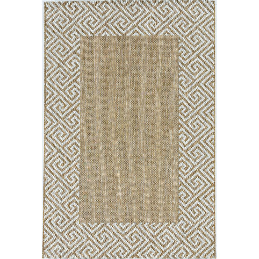 5'x7' Ivory Machine Woven UV Treated Greek Key Bordered Indoor Outdoor Area Rug - 375244. Picture 2