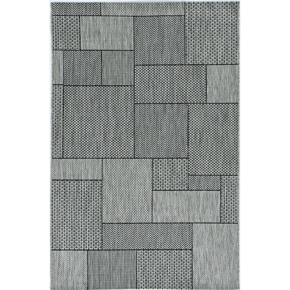 3'x4' Grey Machine Woven UV Treated Geometric Blocks Indoor Outdoor Accent Rug - 375257. Picture 2