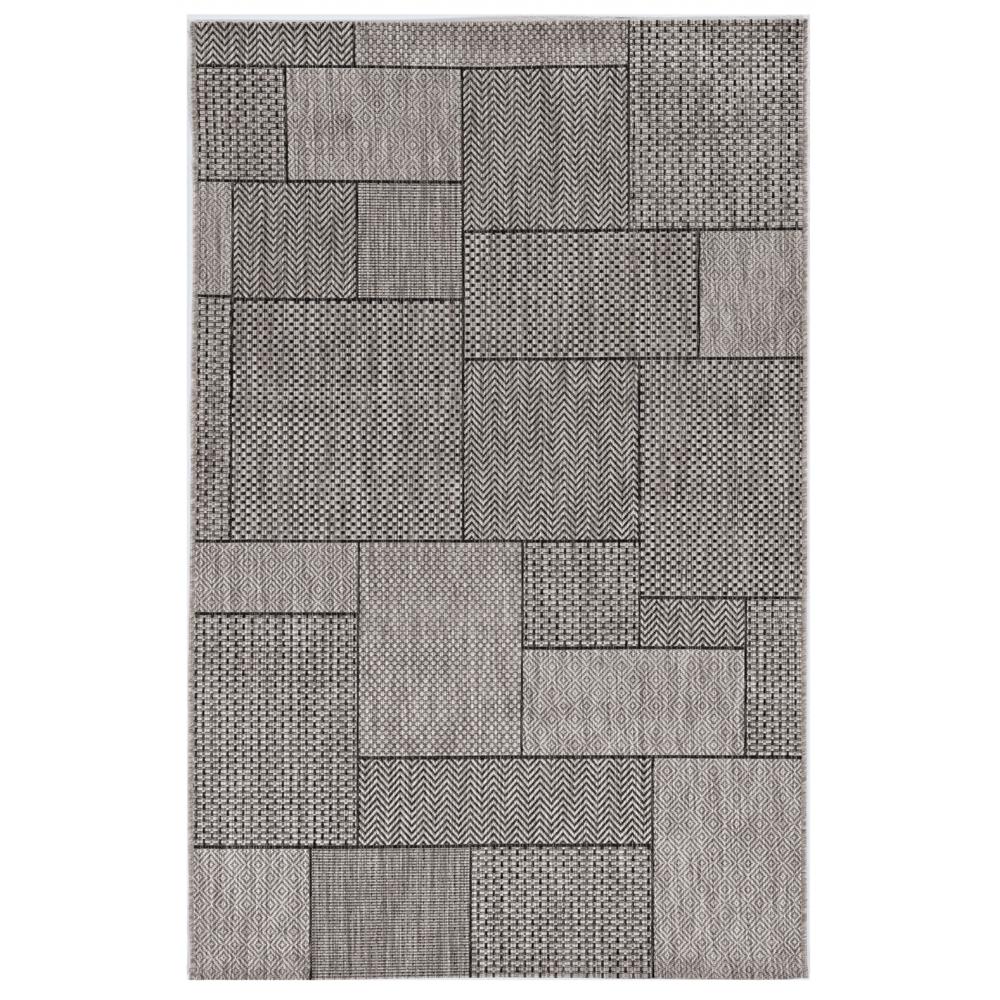 3'x5' Grey Machine Woven UV Treated Geometric Blocks Indoor Outdoor Area Rug - 375258. Picture 1