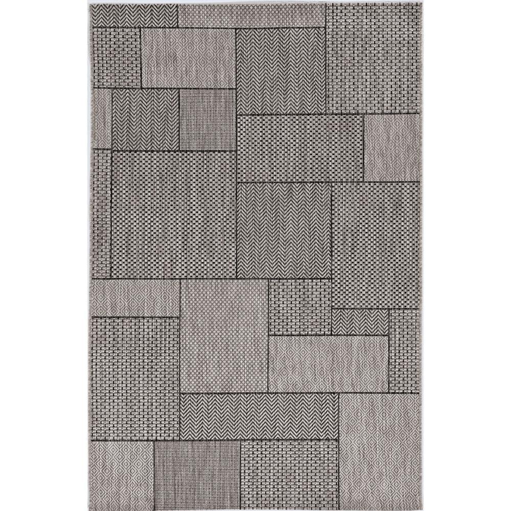 3'x5' Grey Machine Woven UV Treated Geometric Blocks Indoor Outdoor Area Rug - 375258. Picture 2