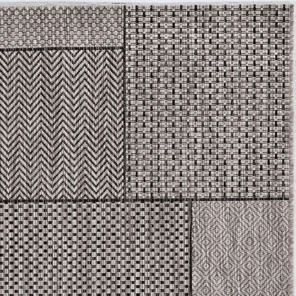3'x5' Grey Machine Woven UV Treated Geometric Blocks Indoor Outdoor Area Rug - 375258. Picture 4
