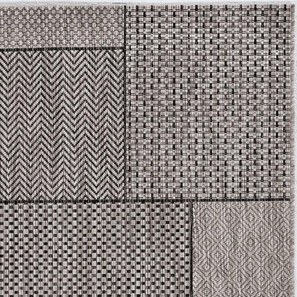8'x11' Grey Machine Woven UV Treated Geometric Indoor Outdoor Area Rug - 375260. Picture 1