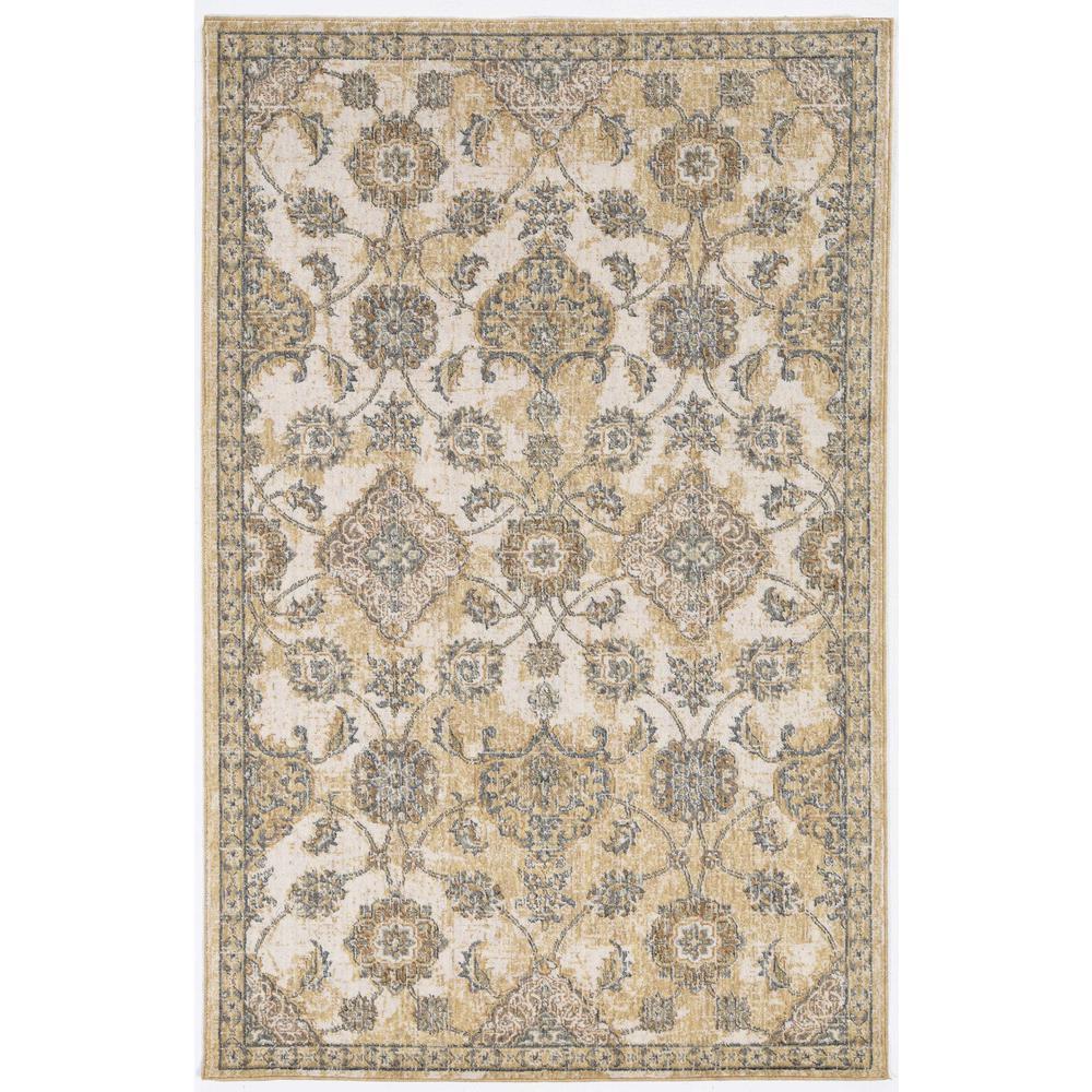 2' x 7' Ivory Sand Floral Vine Wool Indoor Runner Rug - 375263. Picture 5