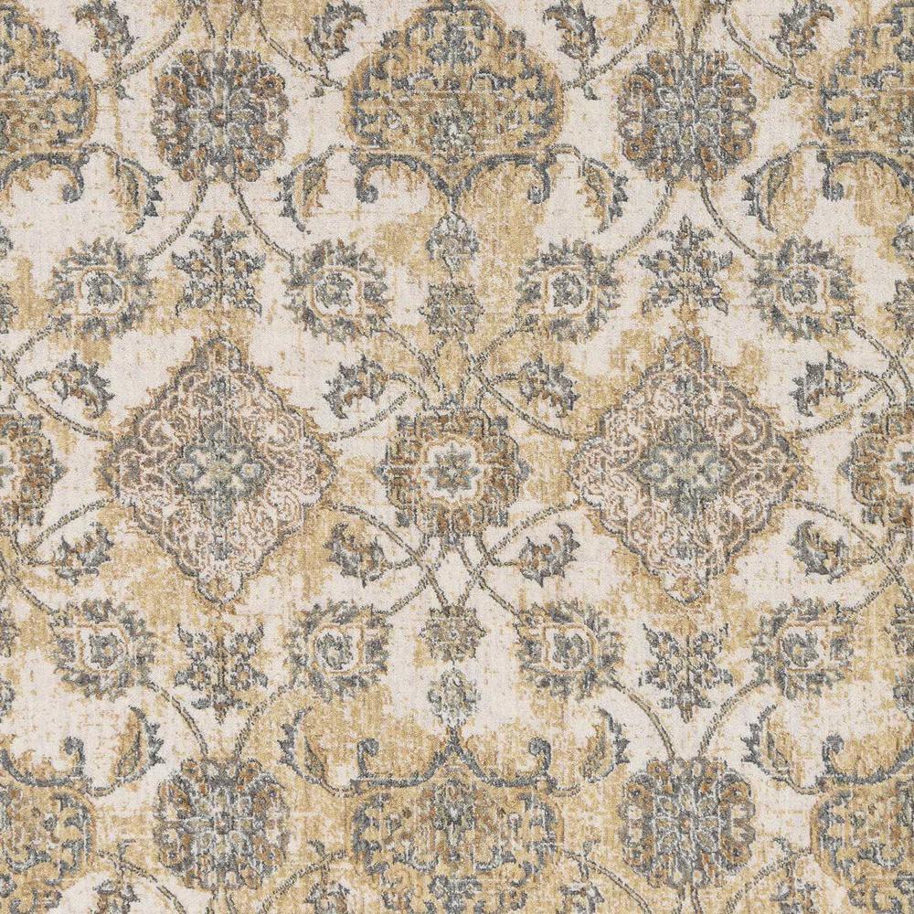 2' x 7' Ivory Sand Floral Vine Wool Indoor Runner Rug - 375263. Picture 2