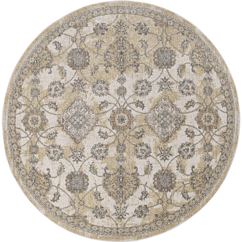 2' x 7' Ivory Sand Floral Vine Wool Indoor Runner Rug - 375263. Picture 3