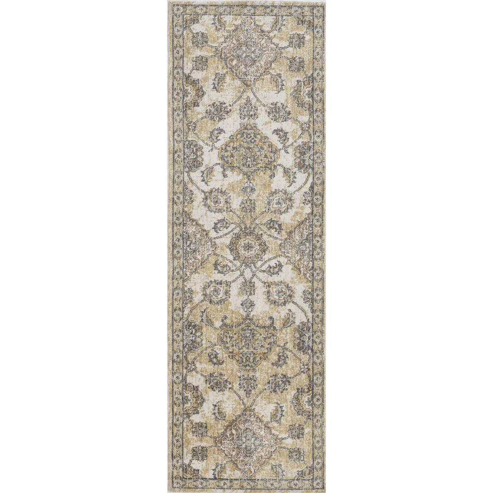 8'x11' Ivory Sand Machine Woven Bordered Floral Vines Indoor Area Rug - 375266. Picture 1