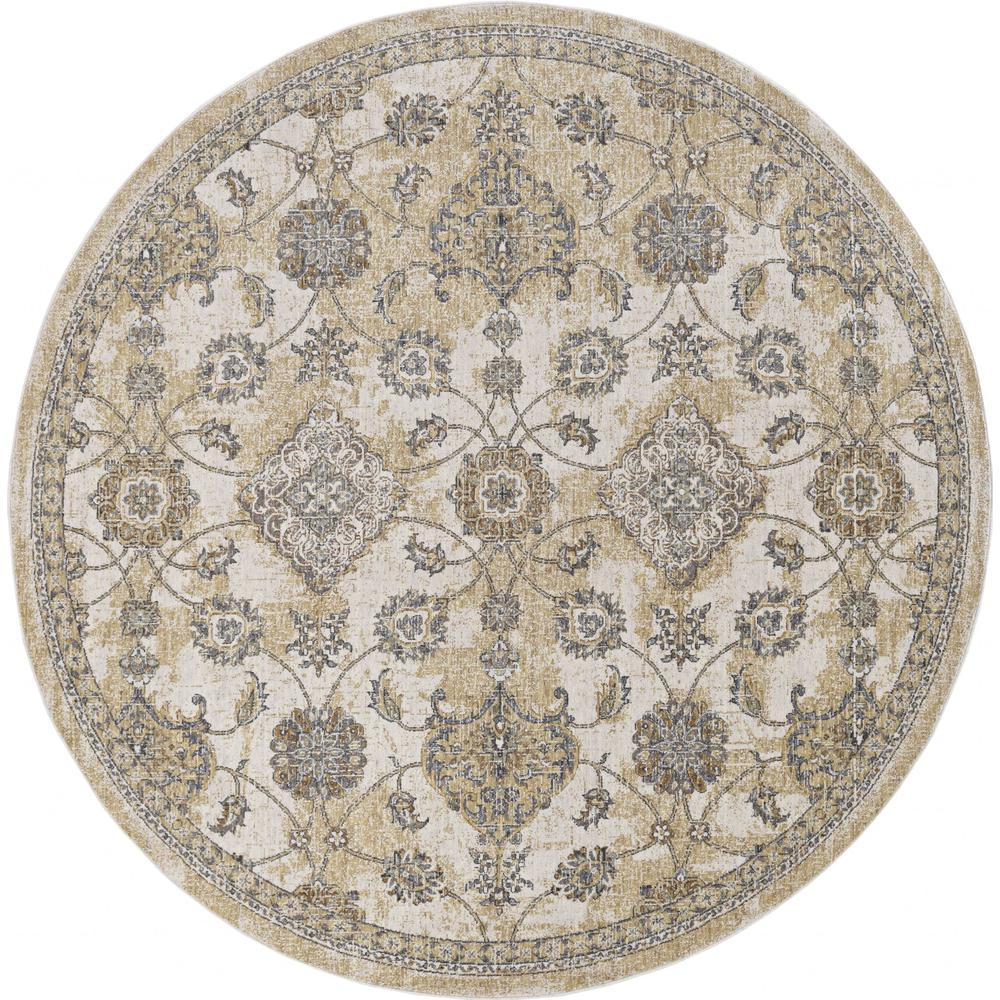 8'x11' Ivory Sand Machine Woven Bordered Floral Vines Indoor Area Rug - 375266. Picture 4