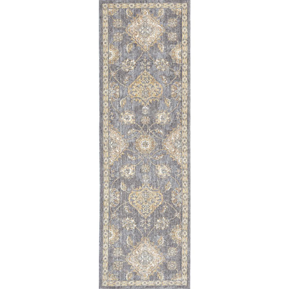 8' Sage Green Machine Woven Vintage Traditional Indoor Runner Rug - 375270. Picture 1