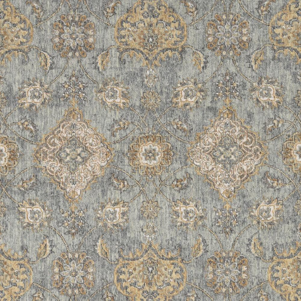 8' Sage Green Machine Woven Vintage Traditional Indoor Runner Rug - 375270. Picture 2