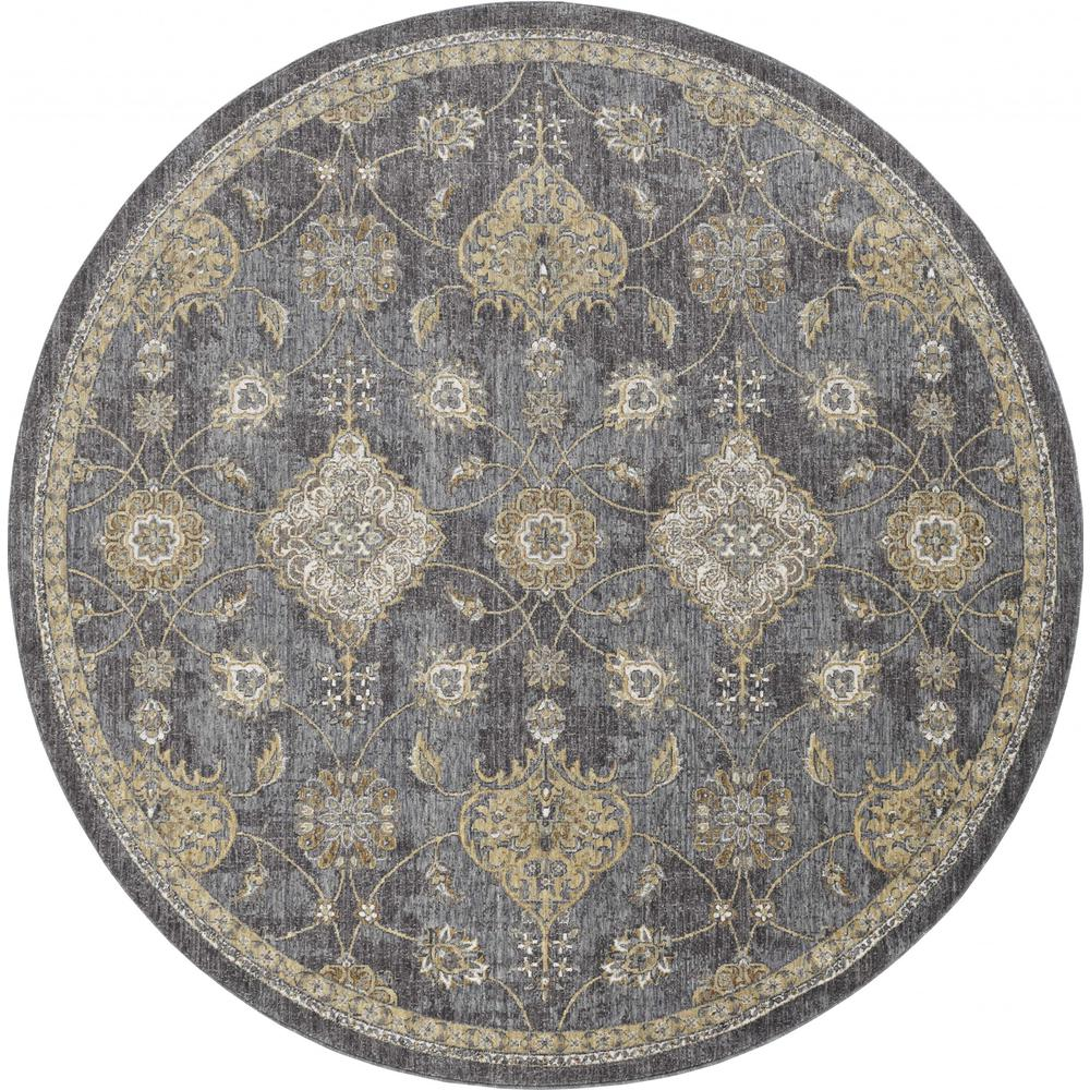 8'x11' Slate Grey Machine Woven Bordered Floral Vines Indoor Area Rug - 375280. Picture 1