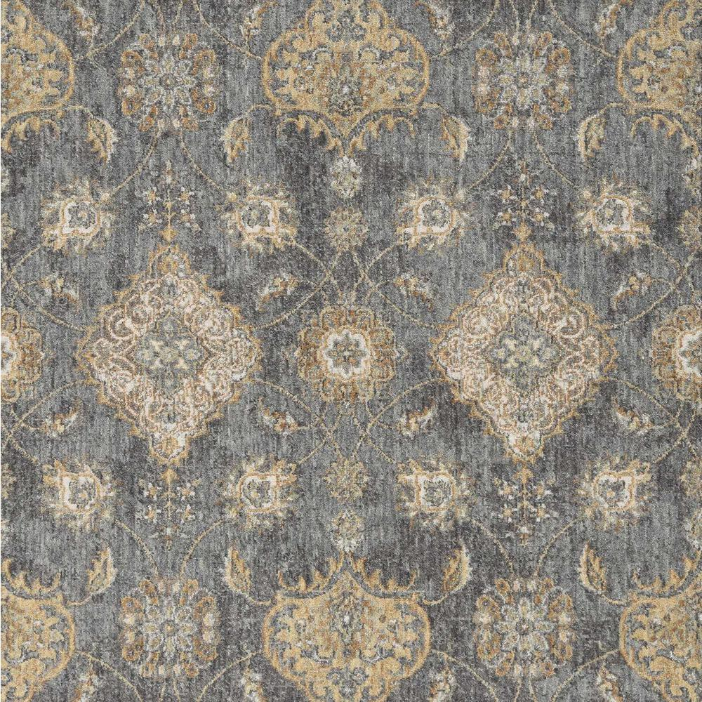 8'x11' Slate Grey Machine Woven Bordered Floral Vines Indoor Area Rug - 375280. Picture 2