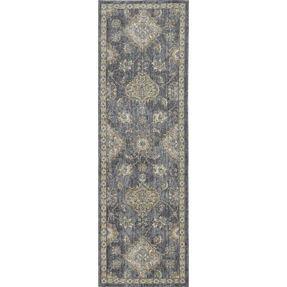 8'x11' Slate Grey Machine Woven Bordered Floral Vines Indoor Area Rug - 375280. Picture 3