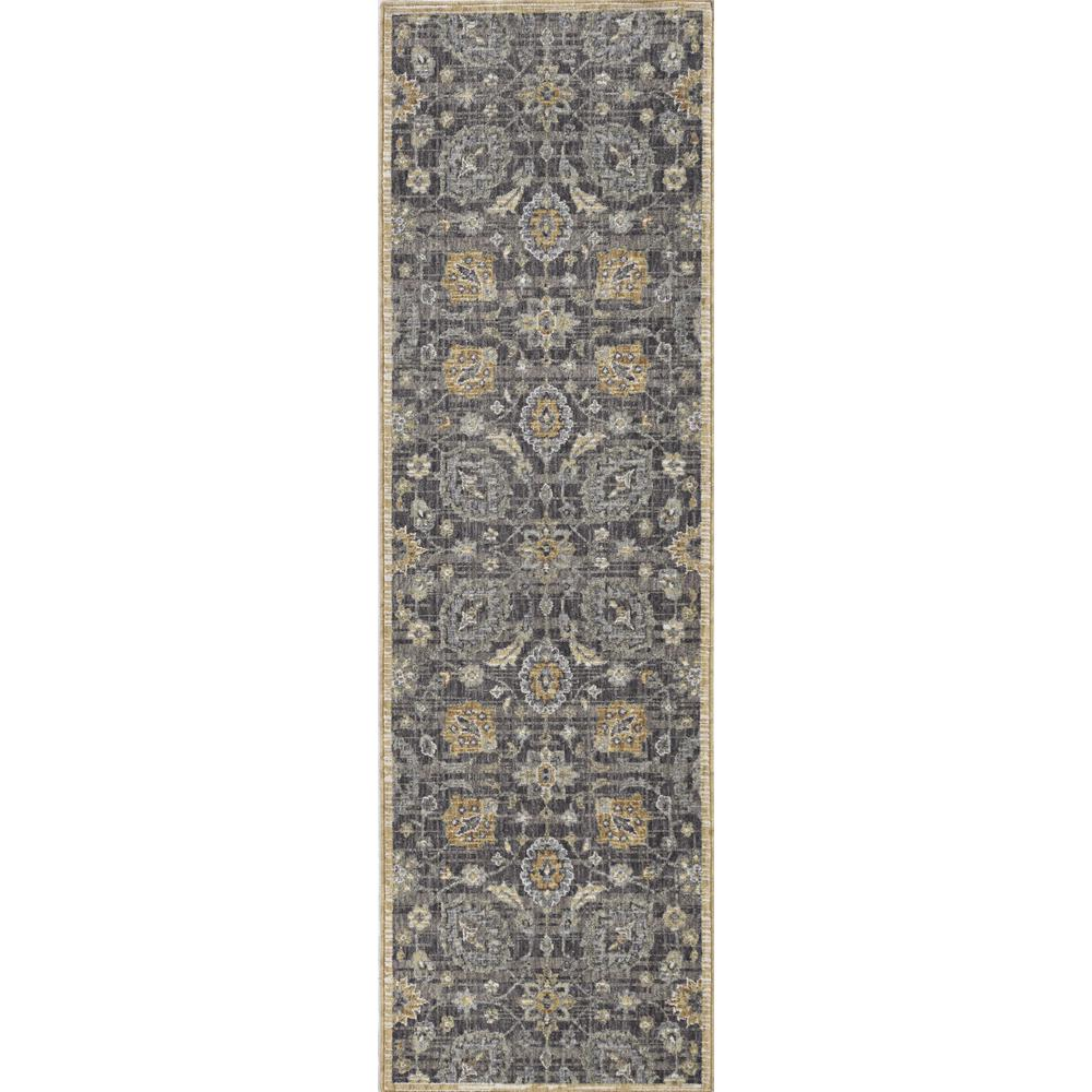 3' x 5' Taupe Floral Vine Bordered Wool Indoor Area Rug - 375285. Picture 1
