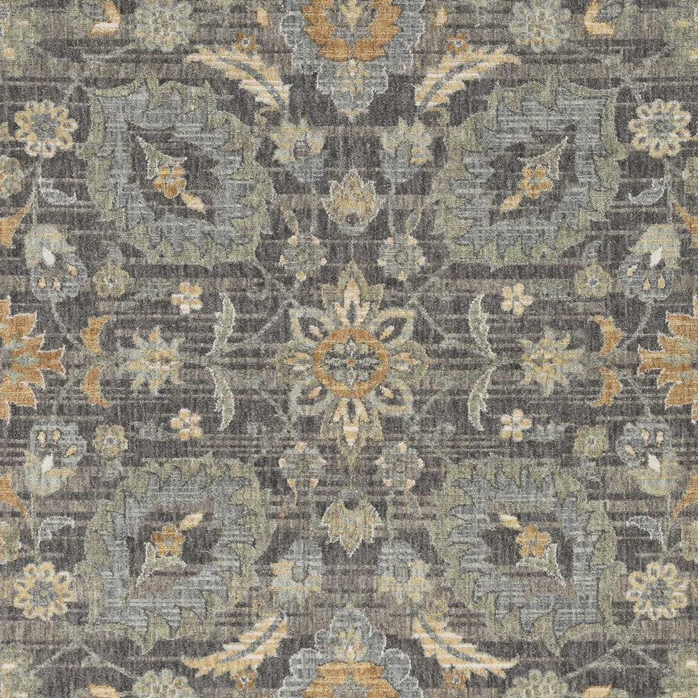 3' x 5' Taupe Floral Vine Bordered Wool Indoor Area Rug - 375285. Picture 2