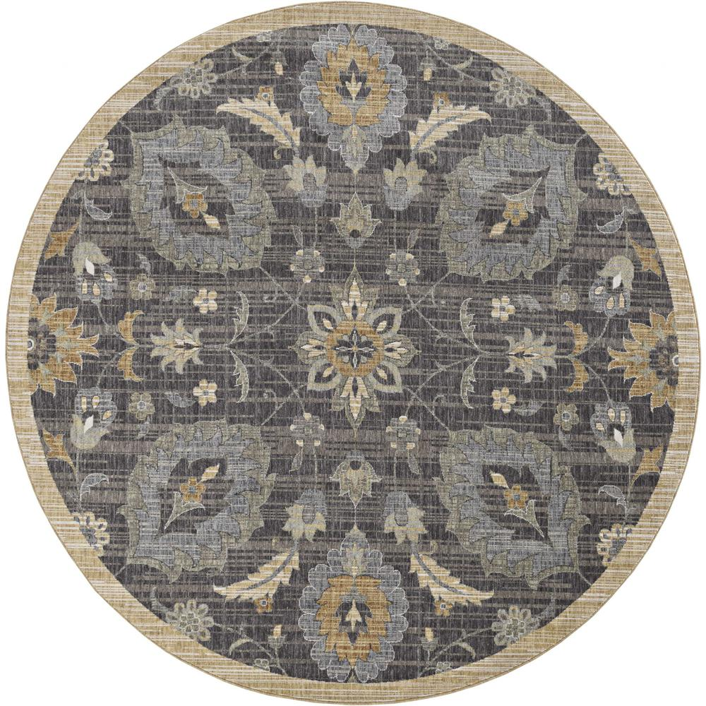 3' x 5' Taupe Floral Vine Bordered Wool Indoor Area Rug - 375285. Picture 3