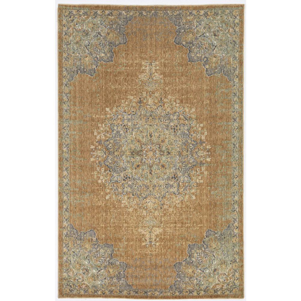 3'x5' Coffee Brown Machine Woven Floral Medallion Indoor Area Rug - 375292. Picture 3