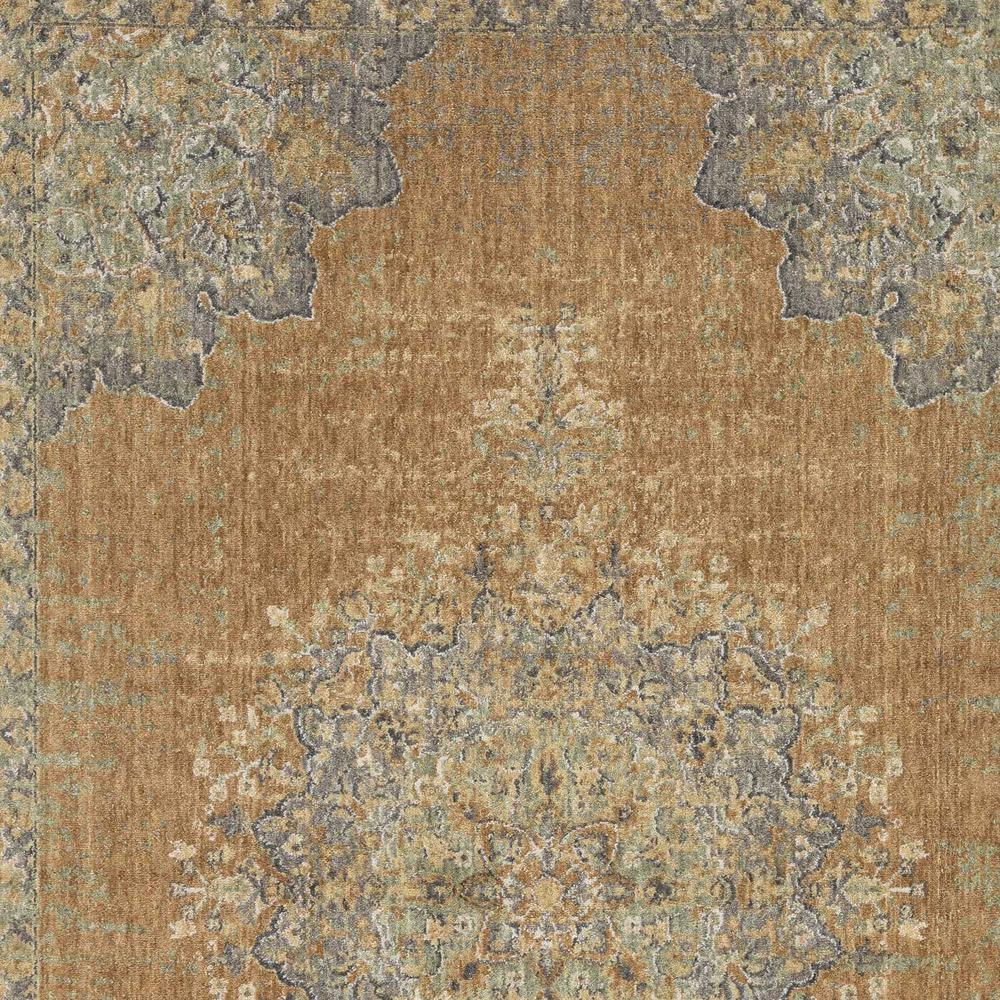 8'x11' Coffee Brown Machine Woven Floral Medallion Indoor Area Rug - 375294. Picture 2