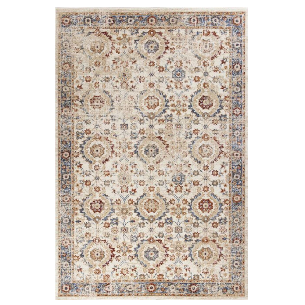 5'x8' Ivory Machine Woven Bordered Floral Indoor Area Rug - 375324. Picture 1