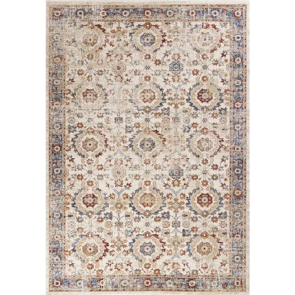 5'x8' Ivory Machine Woven Bordered Floral Indoor Area Rug - 375324. Picture 2