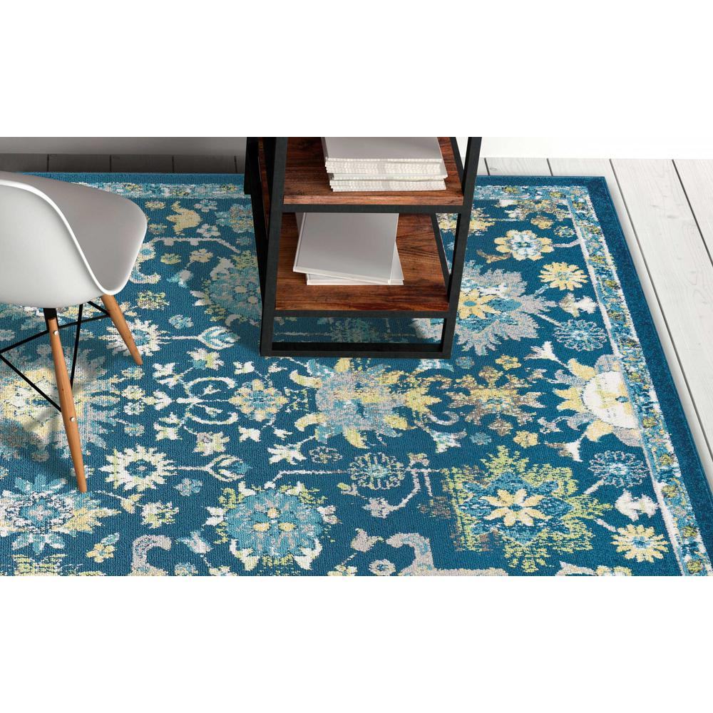 7'x11' Teal Machine Woven Traditional Indoor Area Rug - 375369. Picture 1