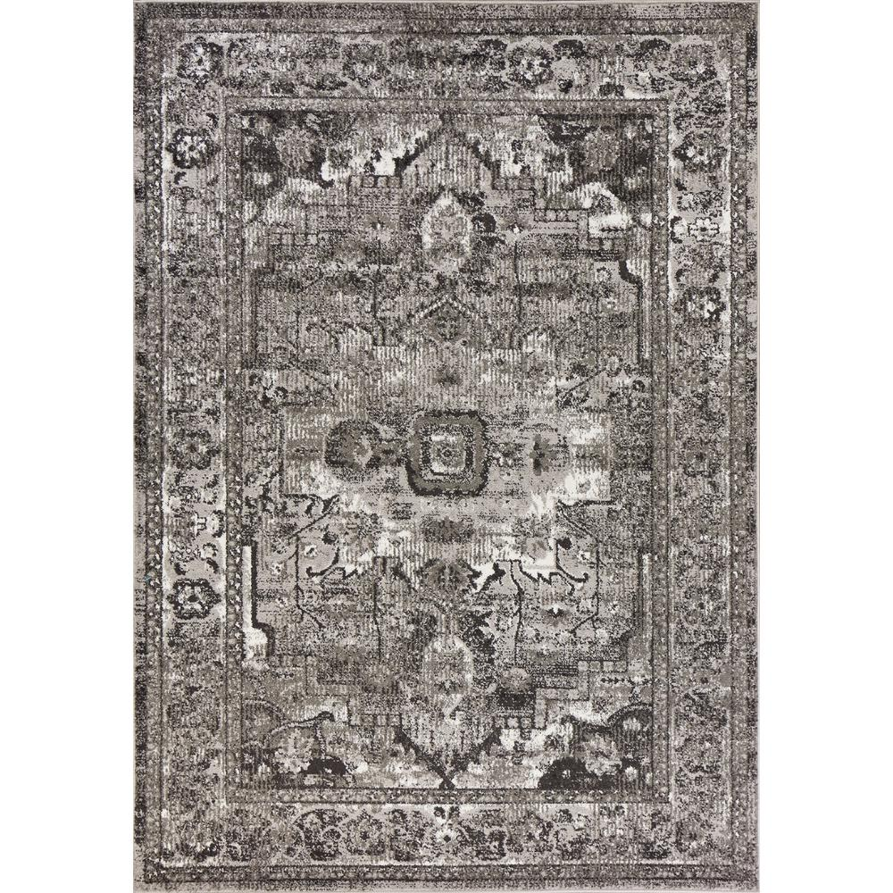 5' x 8' Grey Vintage Bordered Rug - 375372. Picture 1