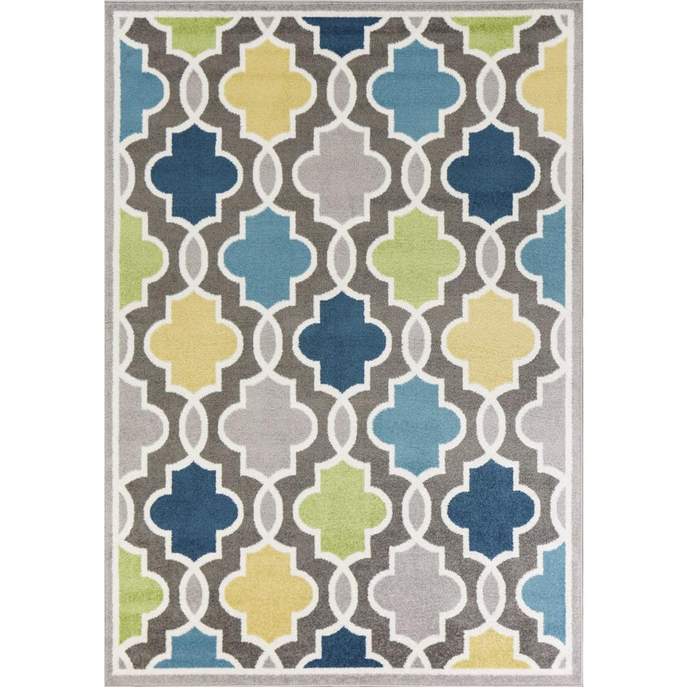 2' x 7' Modern Gray with Pops of Color Area Rug - 375379. Picture 1