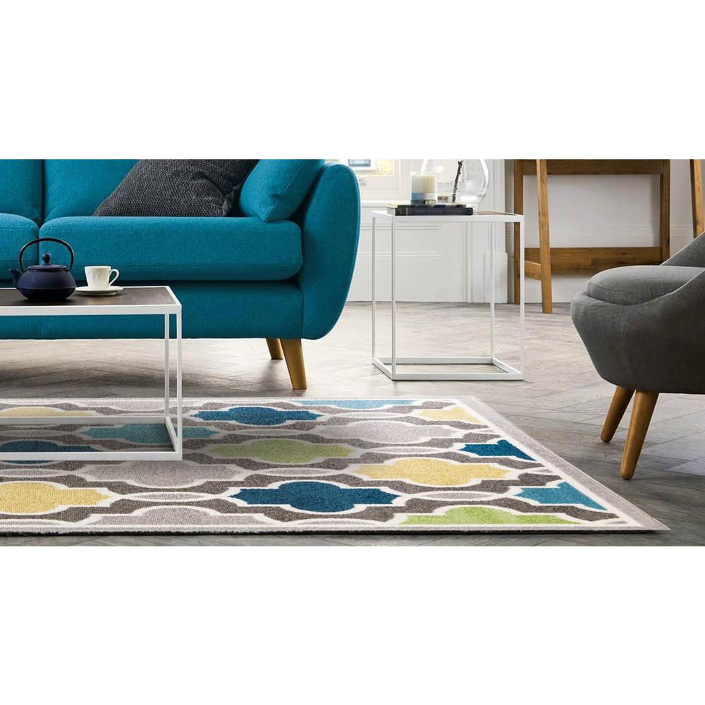 2' x 7' Modern Gray with Pops of Color Area Rug - 375379. Picture 3