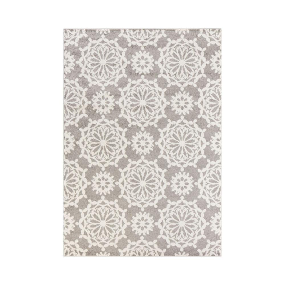 5'x8' Grey Ivory Floral Machine Woven Polypropylene Area Rug - 375383. Picture 1