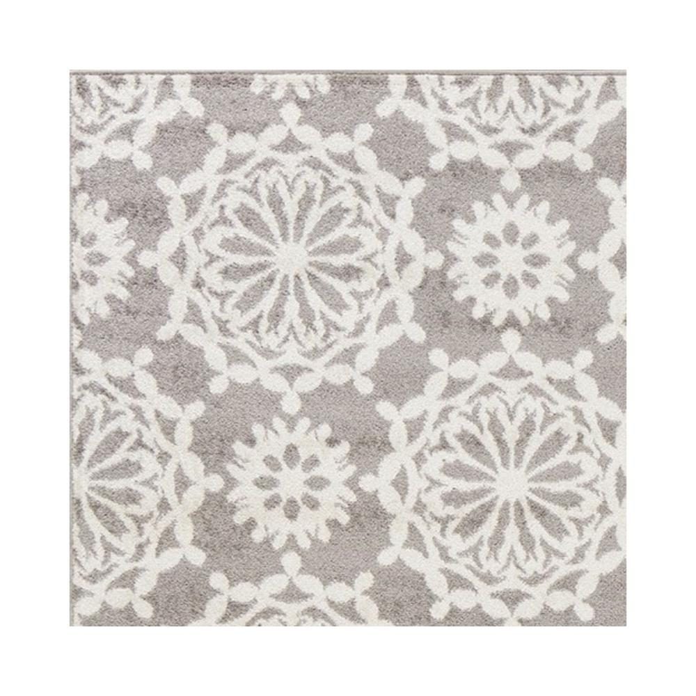 5'x8' Grey Ivory Floral Machine Woven Polypropylene Area Rug - 375383. Picture 2