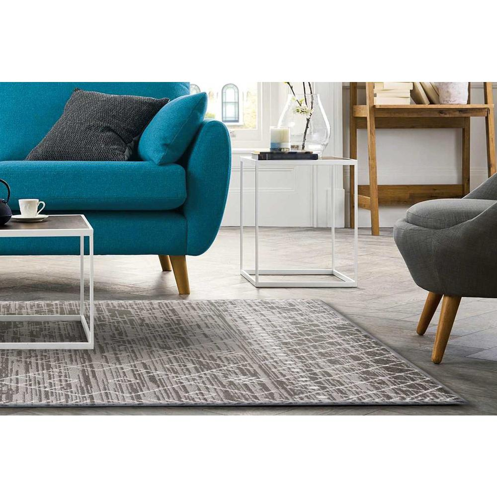 5' x 8' Gray And White Boho Geometric Area Rug - 375387. Picture 5