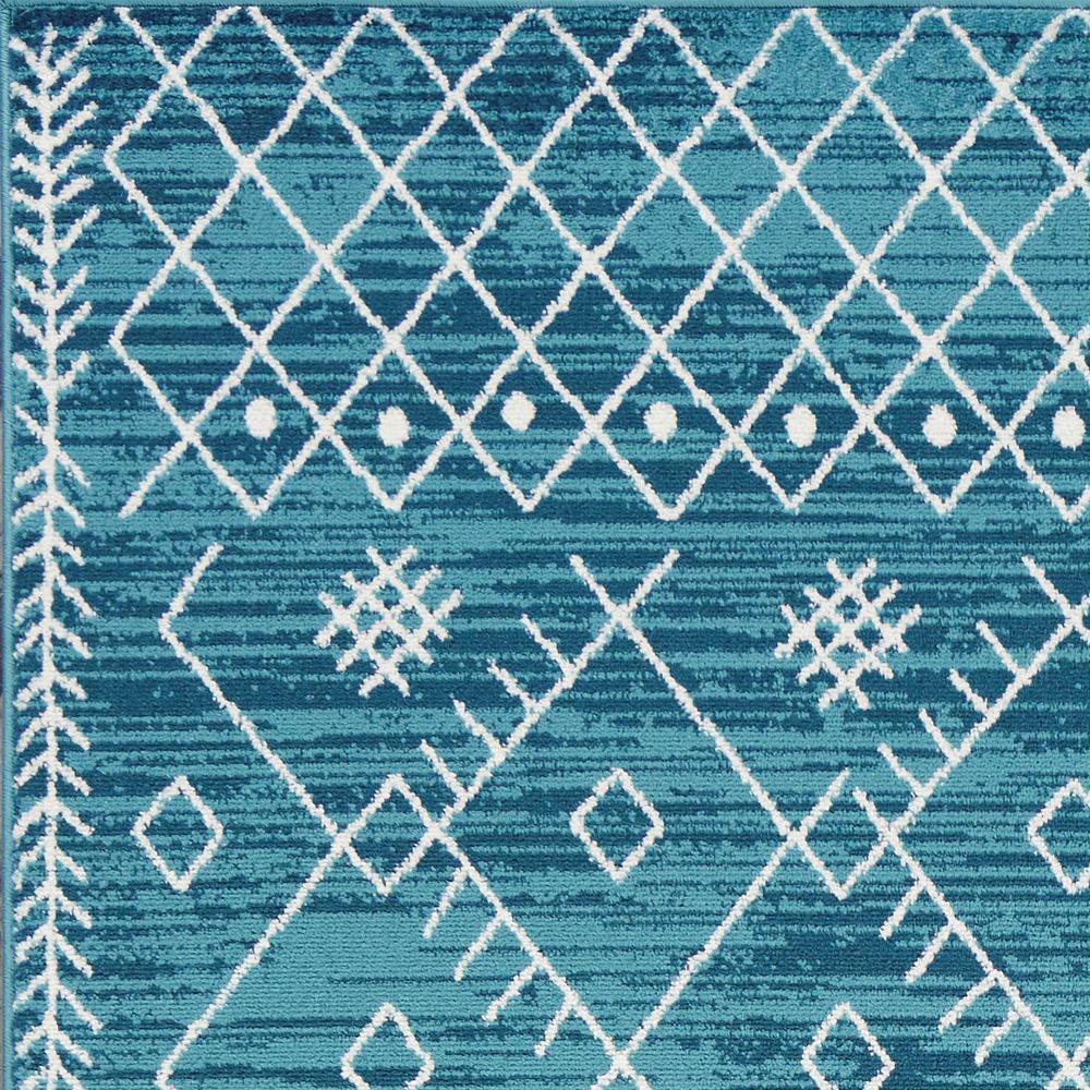 7' Ocean Blue Machine Woven Geometric Tribal Indoor Runner Rug - 375390. Picture 1