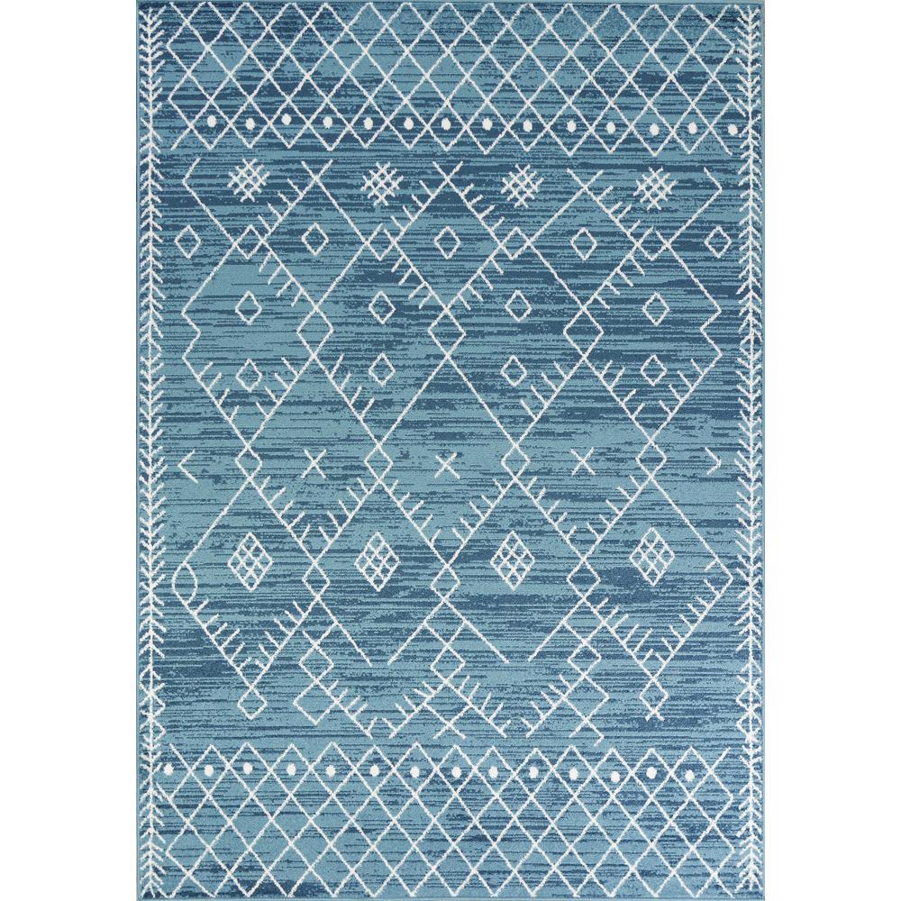 5'x8' Distressed Ocean Blue Geometric Bohemian Design Area Rug - 375391. Picture 1