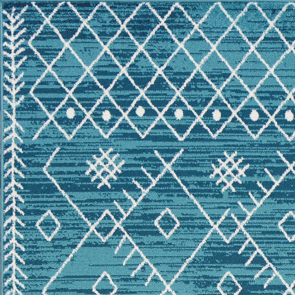 5'x8' Distressed Ocean Blue Geometric Bohemian Design Area Rug - 375391. Picture 2