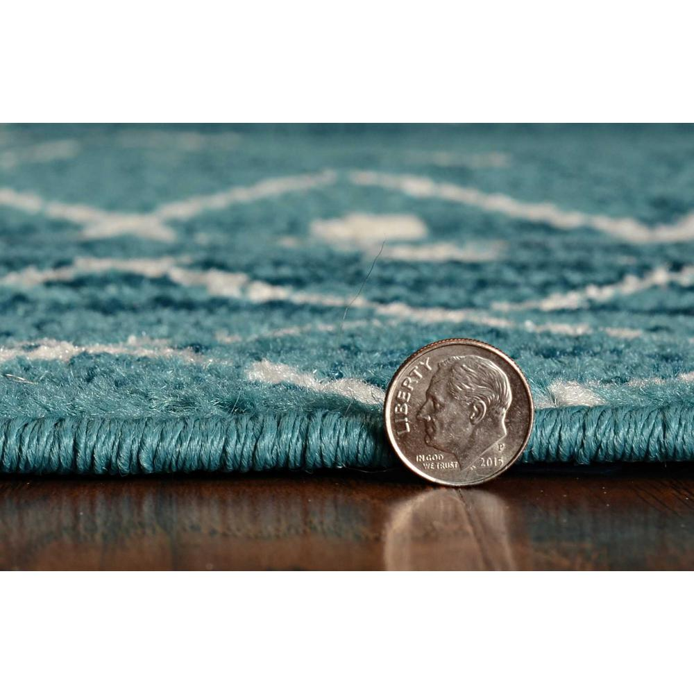 5'x8' Distressed Ocean Blue Geometric Bohemian Design Area Rug - 375391. Picture 4