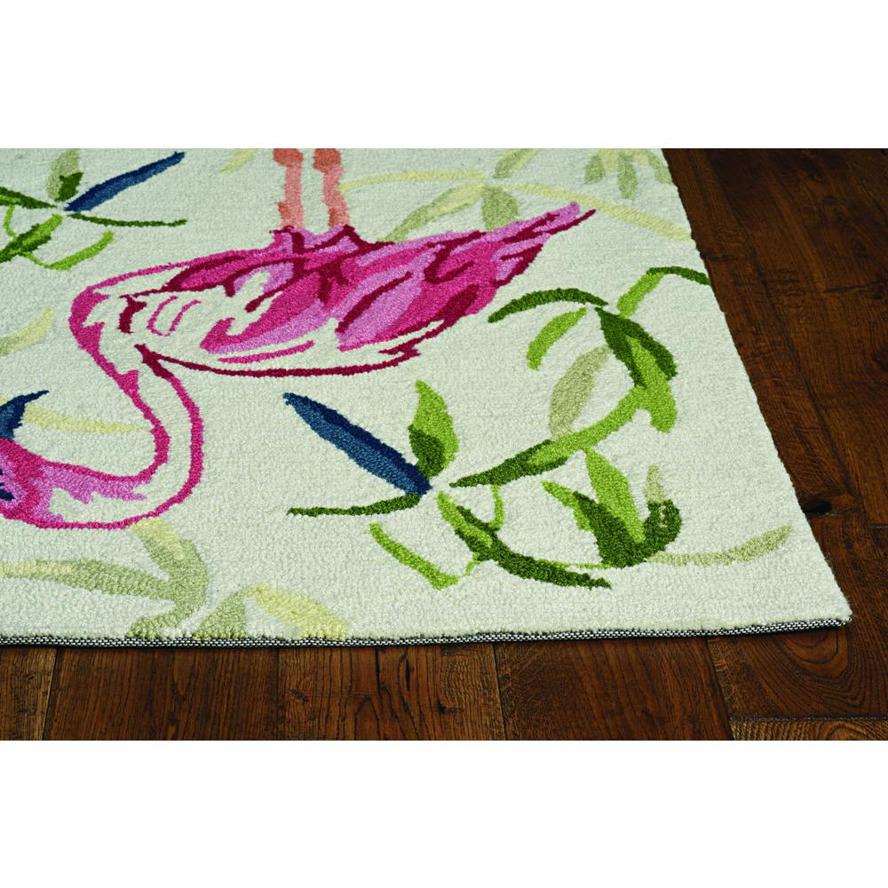 2'x3' Ivory Pink Hand Hooked Flamingo Indoor Accent Rug - 375437. Picture 1