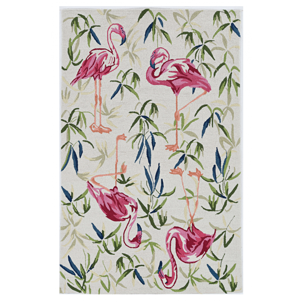 2'x4' Ivory Pink Hand Hooked Flamingo Indoor Accent Rug - 375438. Picture 1