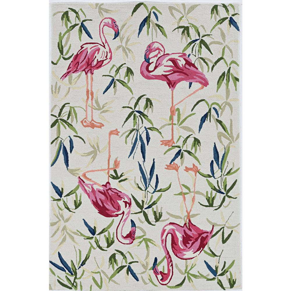 2'x4' Ivory Pink Hand Hooked Flamingo Indoor Accent Rug - 375438. Picture 2