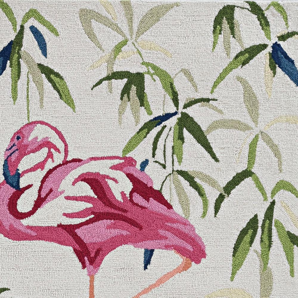 7' Ivory Pink Hand Hooked Flamingo Indoor Runner Rug - 375439. Picture 2