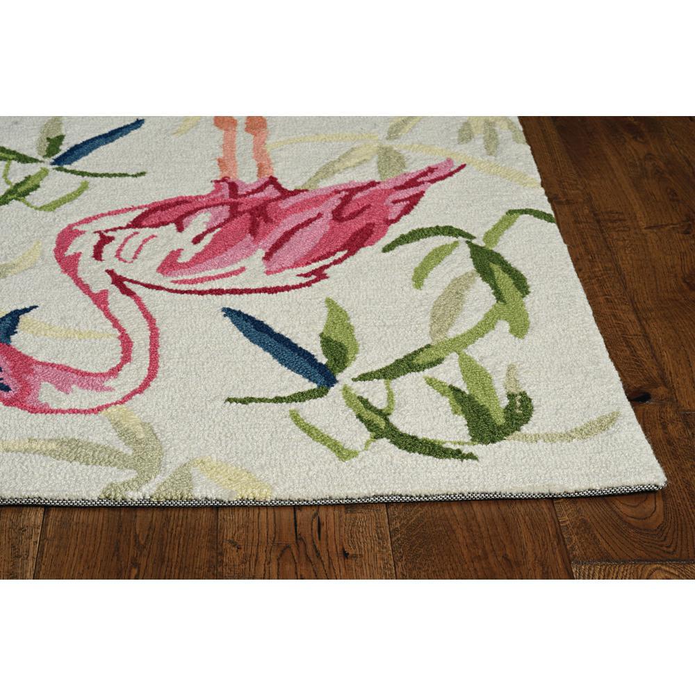 7' Ivory Pink Hand Hooked Flamingo Indoor Runner Rug - 375439. Picture 3