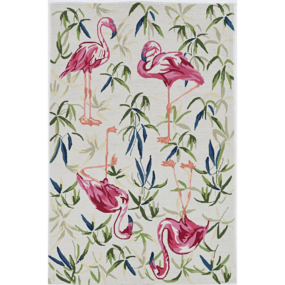 5' x 7' Ivory or Pink Flamingo Indoor Area Rug - 375441. Picture 1