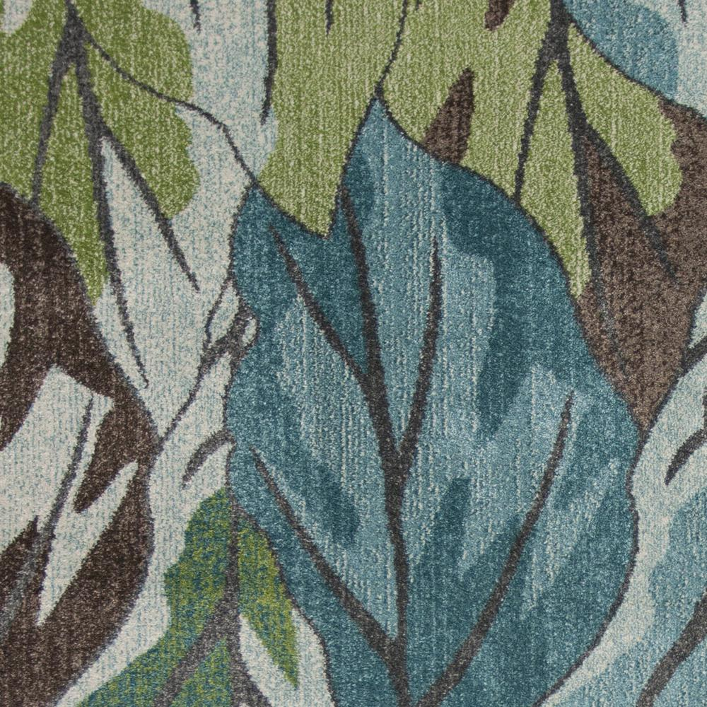 5' x 8' Blue Tropical Leaves Indoor Area Rug - 375508. Picture 1