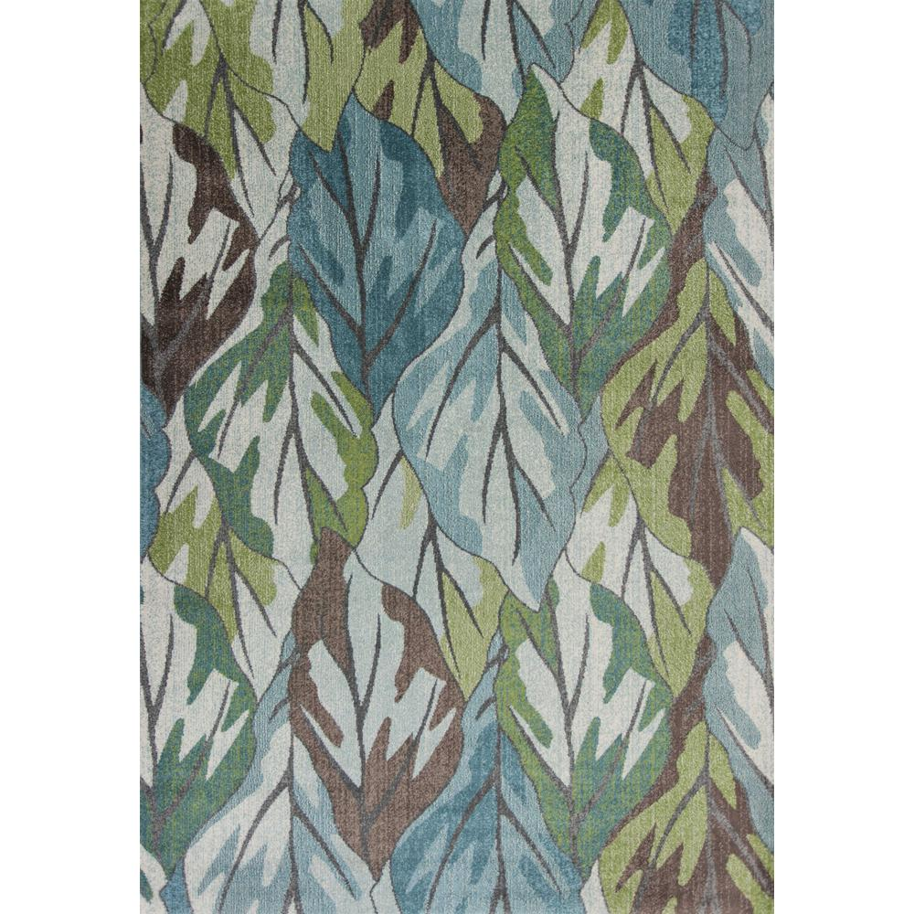 5' x 8' Blue Tropical Leaves Indoor Area Rug - 375508. Picture 3