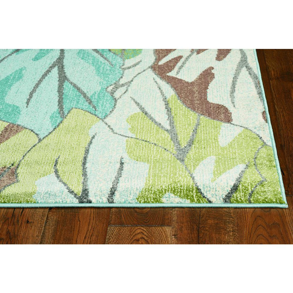 5' x 8' Blue Tropical Leaves Indoor Area Rug - 375508. Picture 2
