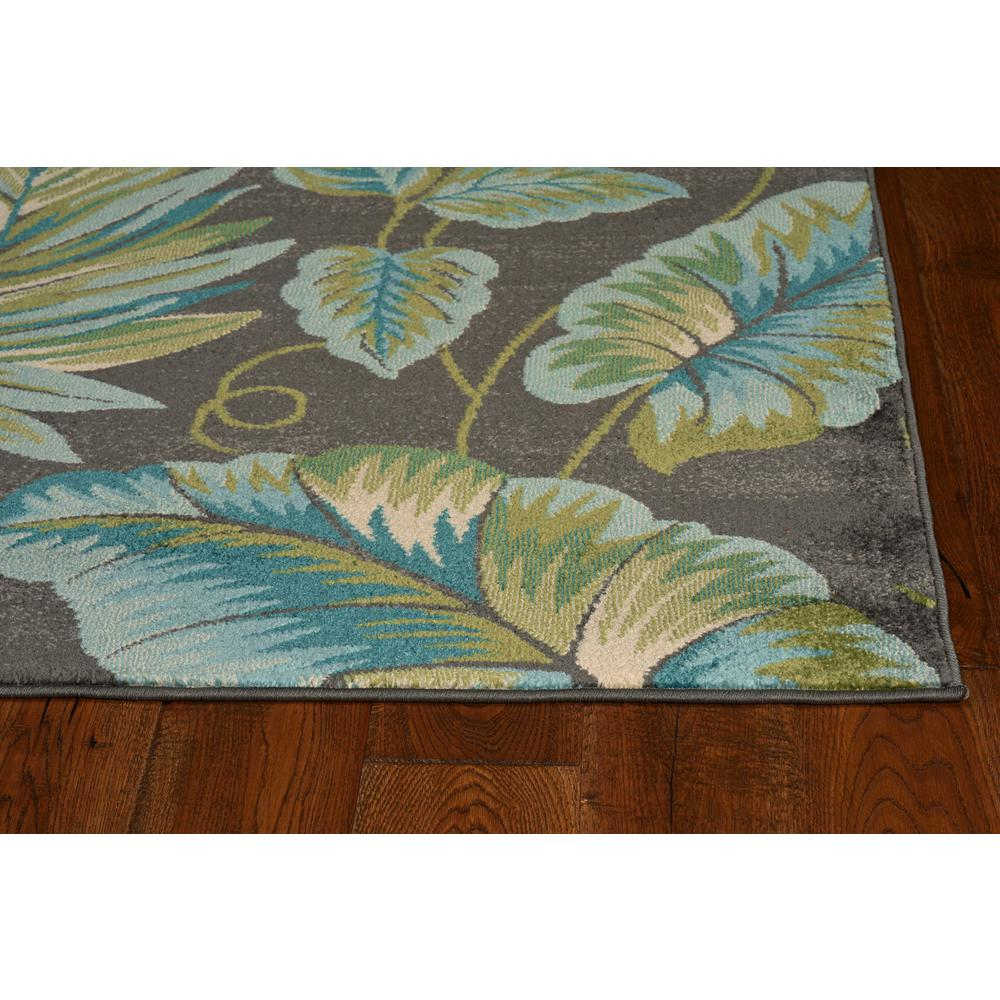 5'x8' Grey Teal Machine Woven Tropical Indoor Area Rug - 375512. Picture 2