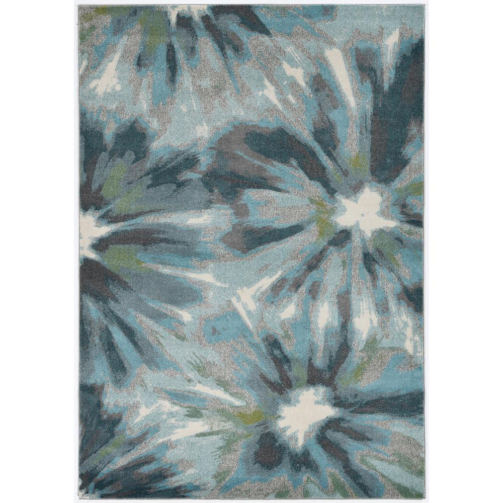 5' x 8' Teal Tropical Flower Indoor Area Rug - 375516. Picture 1